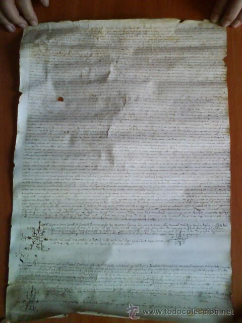 1619 CARTA DE GRACIA REALIZADA EN MOLINS DE REY - TRES SIGNUM - LATÍN (Coleccionismo - Documentos - Manuscritos)