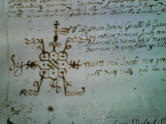 Manuscritos antiguos: 1619 CARTA DE GRACIA REALIZADA EN MOLINS DE REY - TRES SIGNUM - LATÍN - Foto 2 - 33376653