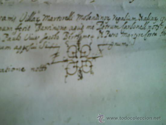 Manuscritos antiguos: 1619 CARTA DE GRACIA REALIZADA EN MOLINS DE REY - TRES SIGNUM - LATÍN - Foto 3 - 33376653