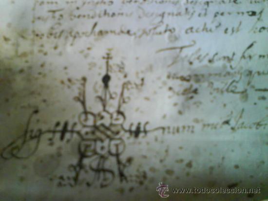Manuscritos antiguos: 1619 CARTA DE GRACIA REALIZADA EN MOLINS DE REY - TRES SIGNUM - LATÍN - Foto 4 - 33376653