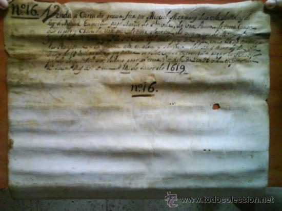 Manuscritos antiguos: 1619 CARTA DE GRACIA REALIZADA EN MOLINS DE REY - TRES SIGNUM - LATÍN - Foto 6 - 33376653