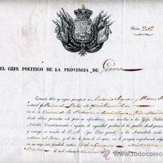 Manuscritos antiguos: DOCUMENTO CONCESION DE PASAPORTE A ESPAÑOL DE GERONA , CUBA 1849 , ORIGINAL, A24. Lote 33482582