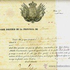 Manuscritos antiguos: DOCUMENTO CONCESION DE PASAPORTE A ESPAÑOL DE OVIEDO ASTURIAS , CUBA 1859 , ORIGINAL, A25. Lote 33482598
