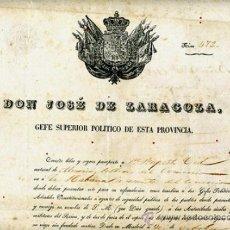Manuscritos antiguos: DOCUMENTO CONCESION DE PASAPORTE A ESPAÑOL DE ALMERIA , CUBA 1850 , ORIGINAL, A28. Lote 33482643