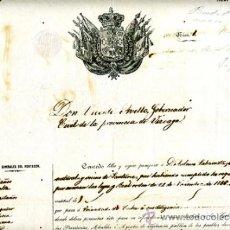 Manuscritos antiguos: DOCUMENTO CONCESION DE PASAPORTE A ESPAÑOL DE SANTURCE BILBAO , CUBA 1858 , ORIGINAL, A30. Lote 33482675