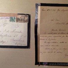 Manuscritos antiguos: CARTA ENVIADA DESDE PARÍS A BARCELONA, 27 DE ENERO DE 1938. CON CENSURA MILITAR. Lote 34283180
