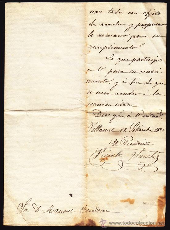 Manuscritos antiguos: CONVOCATORIA Nº 110 DEL SINDICATO DE AGUAS VILLAREAL AÑO 1877, DOCUMENTO MANUSCRITO DE 1877 , - Foto 5 - 34322311