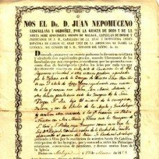 Manuscritos antiguos: DOCUMENTO DEL OBISPADO DE MALAGA - INDULGENCIAS - FECHADO EN 1859. Lote 55401628