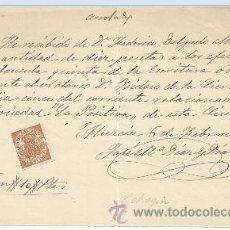 Manuscritos antiguos: K8-DOCUMENTO FISCAL CON SELLO .CELEBRE ISIDORO DE LA CIERVA MURCIA FEDERICO DELGADO MORALES SOCIEDAD. Lote 35339014