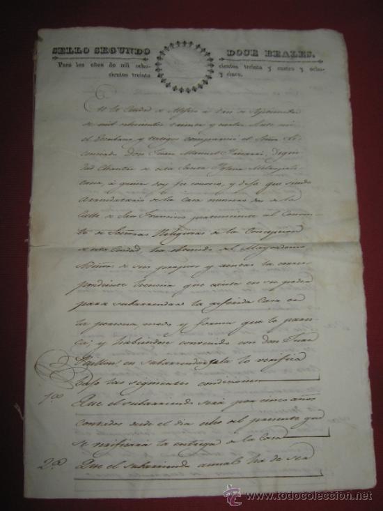 DOCUMENTO FECHADO EN MEXICO EN 1834 - CONTRATO - ESCRITURA (Coleccionismo - Documentos - Manuscritos)