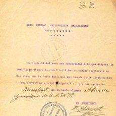 Manuscritos antiguos: CARTA MECANOESCRITA I AUTOGRAFA DE FRANSESC LAYRET AMB EL MOMENAMENT DE MARTINEZ GRAS. NOV. 1912.. Lote 35526223