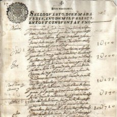 Manuscritos antiguos: 1651 FISCAL 4º DE 10 MRS. REINADO DE FELIPE IV. DOCUMENTO MANUSCRITO TIMBRADO PAPEL SELLADO. Lote 35542576