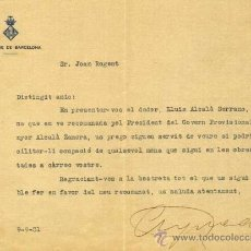 Manuscritos antiguos: 2 CARTAS DE JAUME AGUADÉ MIRÓ -SALUDA Y CARTA PERSONAL- ALCALDE REPUBLUCANO DE BARCELONA.21/4/1931 Y. Lote 35589499