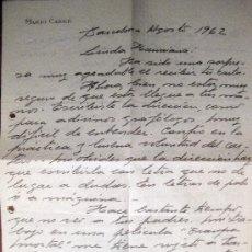 Manuscritos antiguos: MARIO CABRÉ. CARTA AUTÓGRAFA FIRMADA Y FECHADA. 1962. Lote 35848572