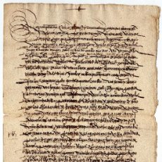 Manuscritos antiguos: MANUSCRITO DE CARTA DE CENSO / MAYORAZGO COALLA / ARRABALES DE MADRID / 1552. Lote 35922416