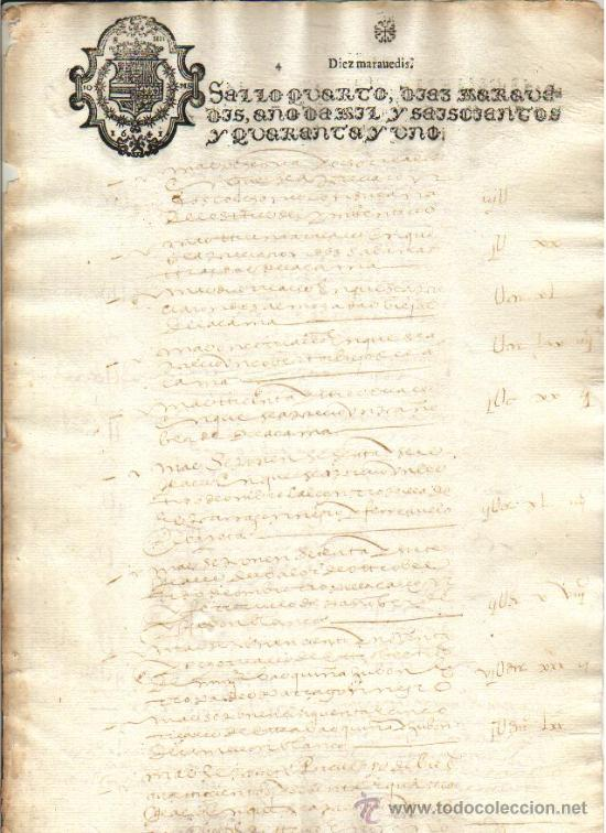 1641 FISCAL 4º DE 10 MRS. MUY NITIDO. FELIPE IV DOCUMENTO MANUSCRITO TIMBRADO. PAPEL SELLADO (Coleccionismo - Documentos - Manuscritos)