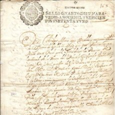 Manuscritos antiguos: 1671 FISCAL 4º DE 10 MRS. NITIDO. CARLOSII DOCUMENTO SELLADO MANUSCRITO TIMBRADO. Lote 36118286