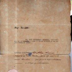 Manuscritos antiguos: CONCESIÓN DE PASAPORTE POR CÓNSUL MERRILL DE EEUU A AMERICANO PARA QUE SE DIRIJA A MATANZAS, 1851. Lote 36568456