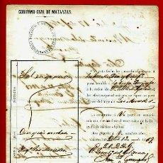 Manuscritos antiguos: DOCUMENTO , PERMISO PARA TRASLADO DE MERCANCIAS A INGENIO AZUCARERO , CUBA 1869 , ORIGINAL, C2 . Lote 36831589