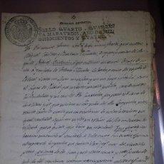 Manuscritos antiguos: MANUSCRITO VENTA PROPIEDADES PAPEL OFICIAL SELLO CARLOS IV (1804) HUESCA. Lote 36877042