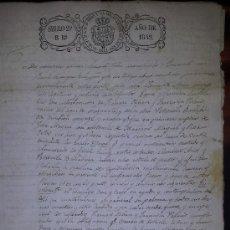 Manuscritos antiguos: MANUSCRITO CONTRATO MATRIMONIAL SELLO ISABEL II 1842 SELLO TINTA Y RELIEVE. Lote 36995343