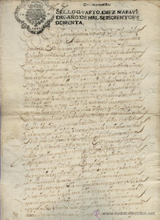 AÑO 1680 - Nº 68 DOCUMENTO MANUSCRITO - S. XVII (Coleccionismo - Documentos - Manuscritos)