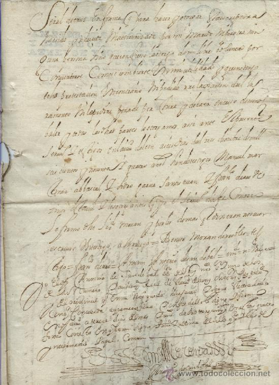 Manuscritos antiguos: AÑO 1694 - Nº 66 DOCUMENTO MANUSCRITO - S. XVII - Foto 5 - 37270175