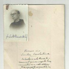 Manuscritos antiguos: HIMNO A SANTA ESCOLÁSTICA. MANUSCRITO Y FIRMADO. FRAY JUSTO PÉREZ URBEL.. Lote 37779570