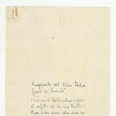 Manuscritos antiguos: FRAGMENTO MANUSCRITO Y FIRMADO DEL LIBRO ITALIA FUERA DE COMBATE. ISMAEL HERRAIZ CRESPO.. Lote 37780984
