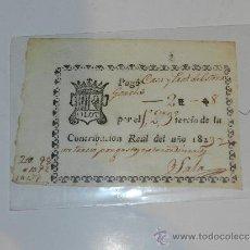 Manuscritos antiguos: DOCUMENTO OLOT ( GERONA ) PAGO POR LA CONTRIBUCION REAL 1823, SEÑALES DE USO. Lote 38531713