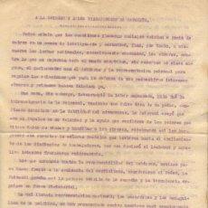 Manuscritos antiguos: MECANOSCRITOS DE LA CNT -7PGS.- Y RESPUESTA DE LA PATRONAL -3 PGS.-SOBRE EL LOCK-OUT PATRONAL 1920. Lote 38607204
