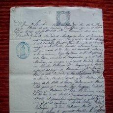 Manuscritos antiguos: 1865-PARTIDA DE BAUTISMO.IGLESIA DE SAN PABLO.MÁLAGA.SELLO DE LA PARROQUIA Y DE 2 REALES. Lote 38630797