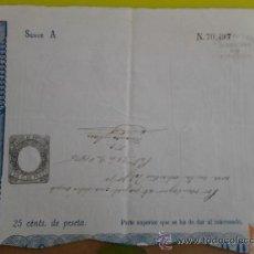 Manuscritos antiguos: PAGO AL ESTADO POR NO USAR EL PAPEL ADECUADO CON SU SELLO, EN 1876 EN PALENCIA. Lote 38653130