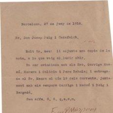 Manuscritos antiguos: CARTA AUTOGRAFA DE MASPONS I ANGLASELL A PUIG I CADAFALCH CON LA COPIA DE OTRA ENVIADA A MAURA.1918. Lote 39252932