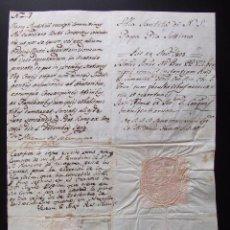 Manuscritos antiguos: CARTA MANUSCRITA DIRIGIDA AL PAPA PIO VII SELLO SECO AÑO 1804 FIRMADA PREFECTO. Lote 40144730