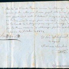 Manuscritos antiguos: 1875, ALBORAYA, VALENCIA, RECIBO DE 100 REALES POR UNAS DILIGENCIAS DEL TRIBUNAL DE LAS AGUAS. Lote 40287741