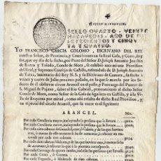 Manuscritos antiguos: ARANCEL DE PASO Y PONTAZGO DEL PUENTE DE SAN MIGUEL DE PAJAZO, SOBRE EL RÍO CABRIEL \ REQUENA (1754). Lote 40413242