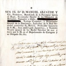 Manuscritos antiguos: CARTAGENA, ALMANSA, NOMBRAMIENTO ALGUACIL MAYOR CASTRENSE 1820. Lote 40803781