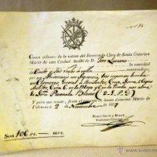 Manuscritos antiguos: RECIBO, LIMOSNAS POR MISAS, 106 REALES, SANTA CATARINA MARTIR DE VALENCIA, 1857, 16 X 22 CM. Lote 41126289