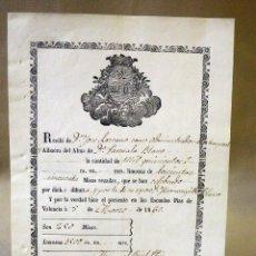 Manuscritos antiguos: RECIBO, LIMOSNAS POR MISAS, MANUSCRITO, 1860, MISAS REZADAS, 22 X 16 CM. Lote 41126559