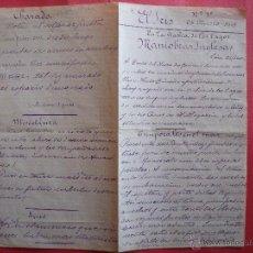 Manuscritos antiguos: EL IRIS.-BAHIA DE LOS LAGOS.-BARCA MONSERRAT.-MANIOBRAS INGLESAS.-MANUSCRITO.-AÑO 1907.. Lote 41252955