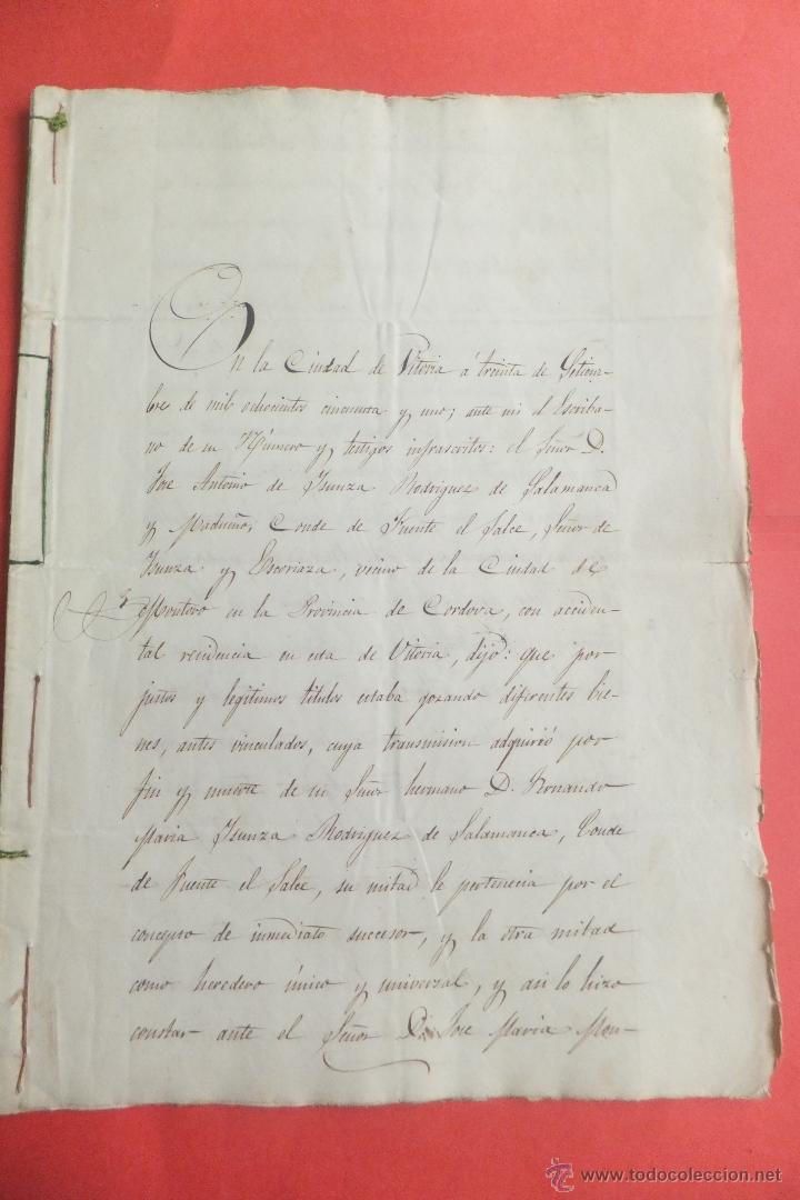 MANUSCRITO J A YSUNZA R SALAMANCA MADUEÑO CONDE FUENTE SALCE HEREDADES ESTARRONA ALAVA 1851 (Coleccionismo - Documentos - Manuscritos)