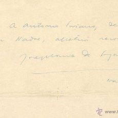 Manuscritos antiguos: FELICITACIÓ AUTÓGRAFA DE JOSEP Mª DE SAGARRA A ANTONIO SORIANO. NOVEMBRE 1950. Lote 41609619