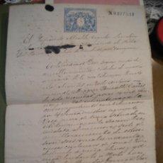 Manuscritos antiguos: ANTIGUA ESCRITURA O CELULA DE RIQUEZA DE LA BISBAL DEL PENEDES 1885.. Lote 42400205