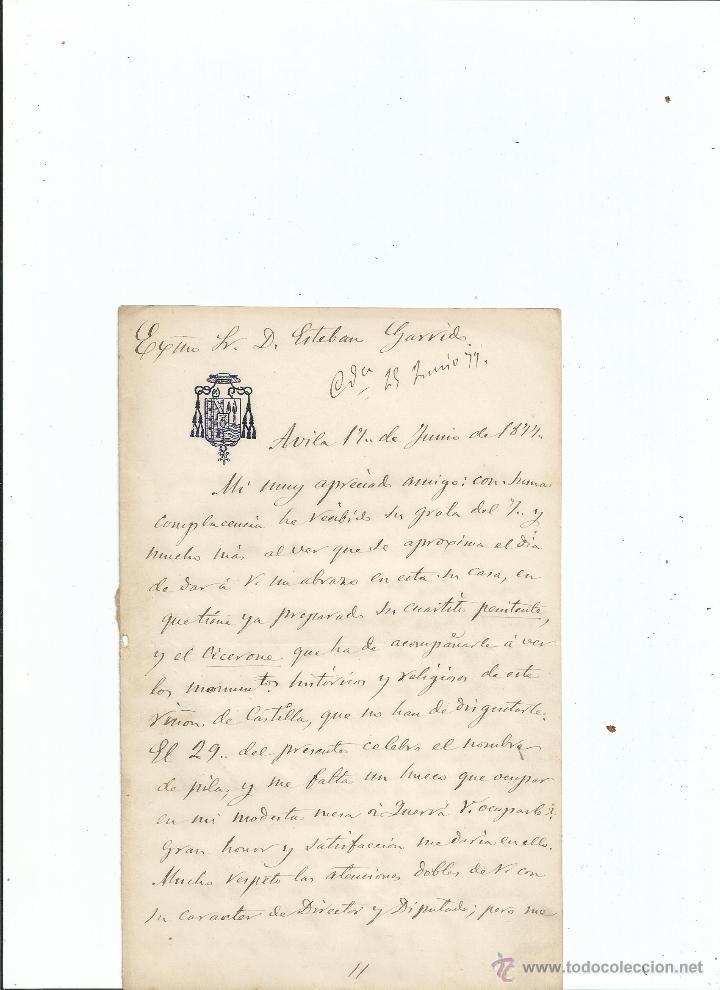 1877 CARTA DEL OBISPO DE ÁVILA PEDRO JOSÉ SÁNCHEZ CARRASCOSA Y CARRIÓN (Coleccionismo - Documentos - Manuscritos)