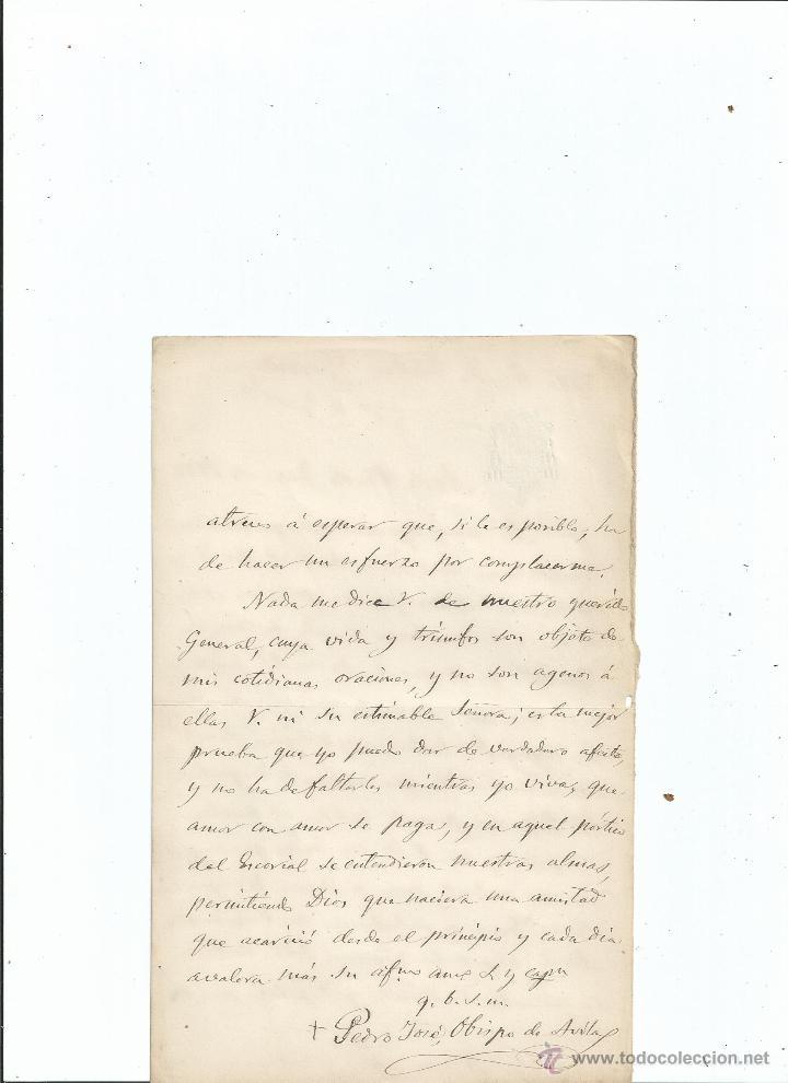 Manuscritos antiguos: 1877 CARTA DEL OBISPO DE ÁVILA PEDRO JOSÉ SÁNCHEZ CARRASCOSA Y CARRIÓN - Foto 2 - 42847863