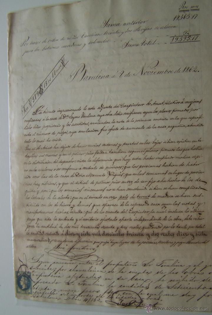 CONTRATO MANUSCRITO DE CARPINTERIA * BARCELONA 1862 * DETALLE DE TRABAJO Y ACUERDO FINAL (Coleccionismo - Documentos - Manuscritos)