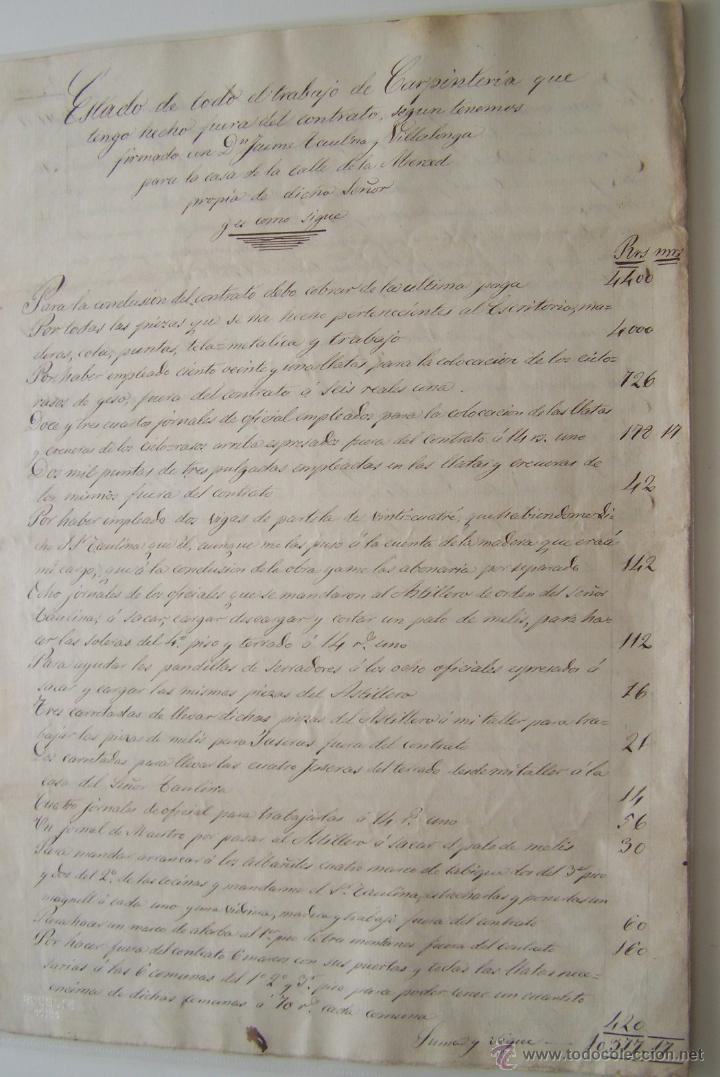Manuscritos antiguos: Contrato manuscrito de CARPINTERIA * Barcelona 1862 * detalle de trabajo y acuerdo final - Foto 2 - 42884496