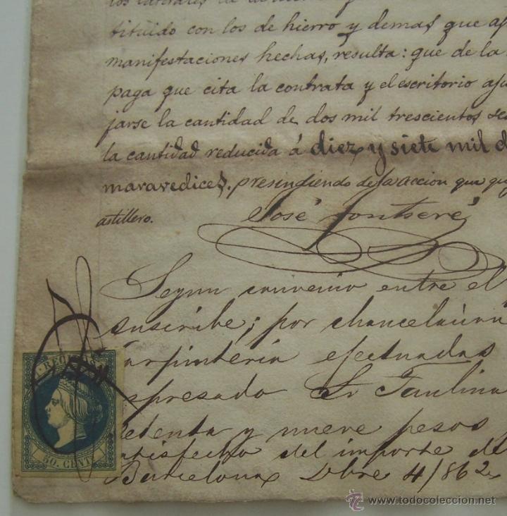 Manuscritos antiguos: Contrato manuscrito de CARPINTERIA * Barcelona 1862 * detalle de trabajo y acuerdo final - Foto 3 - 42884496