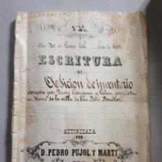 Manuscritos antiguos: MANUSCRITO TIMBROLOGIA, 1866,2 HOJAS CON SELLOS NOVENOS, 20 CTS., FIRMA NOTARIO. BARCELONA FIGUERAS. Lote 43276212